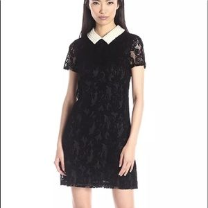 Betsey Johnson lace sleeve shift faux pearl black